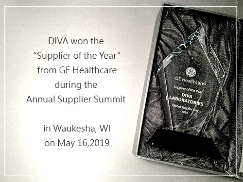 On May 16, 2019, DIVA Laboratory stood out among more than 4200 suppliers by winning the Vendor of the Year from GEHC.